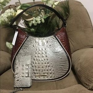 BRAHMIN AMIRA LEATHER  SHOULDER BAG HEMLOCK